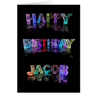The Name Jacob in 3D Lights (Photograph) Greeting Card