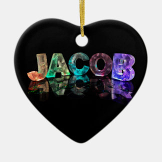 The Name Jacob in 3D Lights (Photograph) Christmas Ornament
