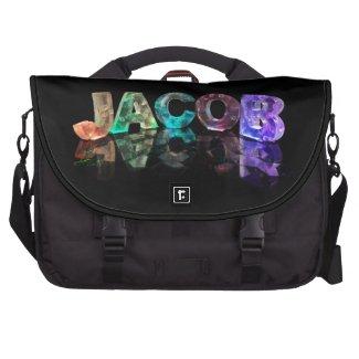 The Name Jacob in 3D Lights (Photograph) Laptop Messenger Bag