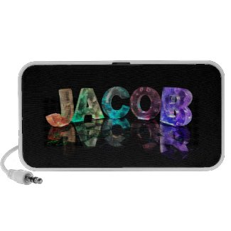 The Name Jacob in 3D Lights (Photograph) Mini Speakers