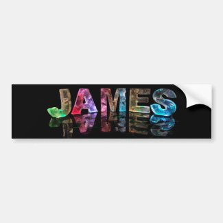 The Name James in 3D Lights (Photograph) Bumper Stickers