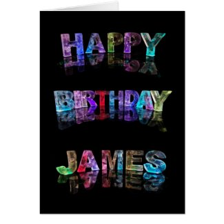 The Name James in 3D Lights (Photograph) Cards