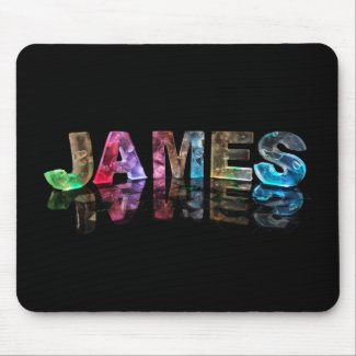 The Name James in 3D Lights (Photograph) Mouse Mats