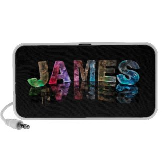 The Name James in 3D Lights (Photograph) Mini Speaker