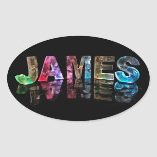 The Name James in 3D Lights (Photograph) Oval Stickers