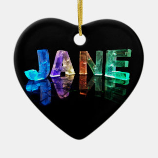 The Name Jane in 3D Lights (Photograph) Ceramic Heart Decoration