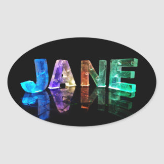 The Name Jane in 3D Lights (Photograph) Oval Sticker