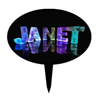 The Name Janet in 3D Lights (Photograph) Cake Picks