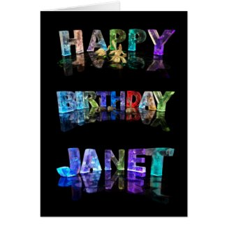 The Name Janet in 3D Lights (Photograph) Cards