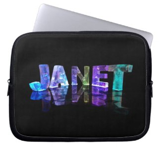 The Name Janet in 3D Lights (Photograph) Laptop Sleeve