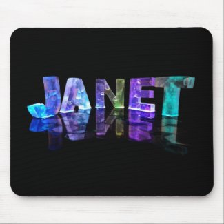 The Name Janet in 3D Lights (Photograph) Mousemats