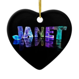 The Name Janet in 3D Lights (Photograph) Ornaments