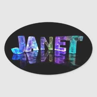 The Name Janet in 3D Lights (Photograph) Stickers