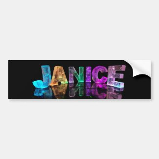 The Name Janice in 3D Lights (Photograph) Bumper Stickers