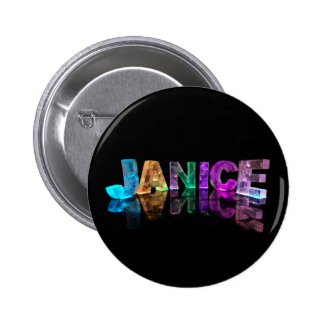 The Name Janice in 3D Lights (Photograph) Buttons