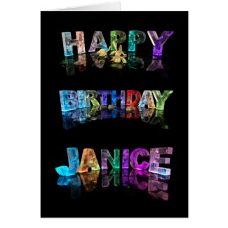 The Name Janice in 3D Lights (Photograph) Greeting Cards