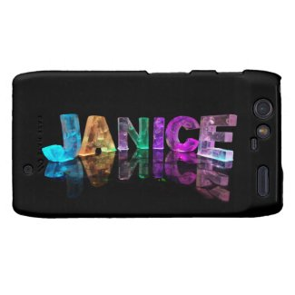 The Name Janice in 3D Lights (Photograph) Motorola Droid RAZR Cover