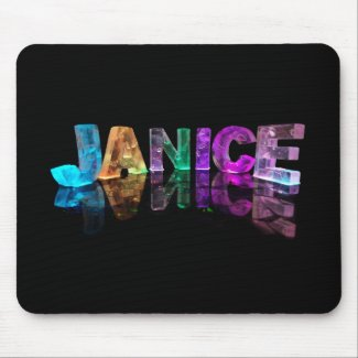 The Name Janice in 3D Lights (Photograph) Mouse Mat