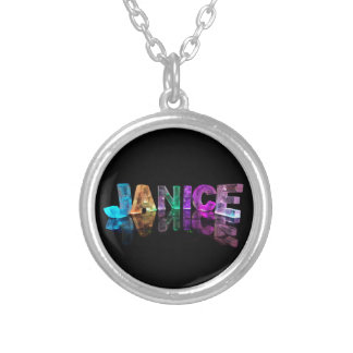 The Name Janice in 3D Lights (Photograph) Silver Plated Necklace