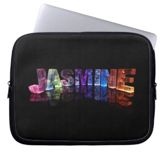 The Name Jasmine in 3D Lights (Photograph) Computer Sleeve