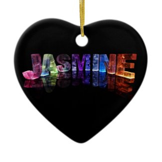 The Name Jasmine in 3D Lights (Photograph) Christmas Tree Ornament