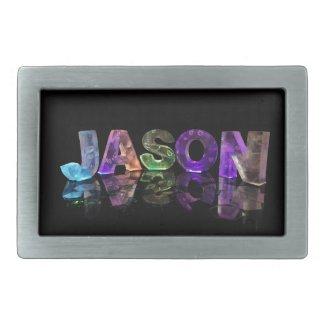 The Name Jason in 3D Lights (Photograph) Rectangular Belt Buckles