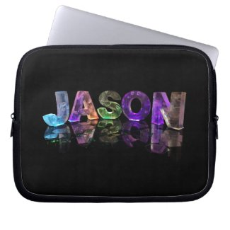 The Name Jason in 3D Lights (Photograph) Computer Sleeve
