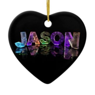 The Name Jason in 3D Lights (Photograph) Christmas Ornaments