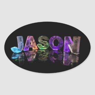 The Name Jason in 3D Lights (Photograph) Oval Stickers
