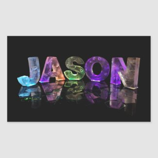 The Name Jason in 3D Lights (Photograph) Rectangle Sticker