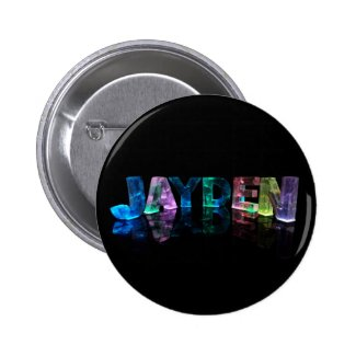 The Name Jayden in 3D Lights (Photograph) Pinback Buttons