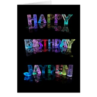 The Name Jayden in 3D Lights (Photograph) Card