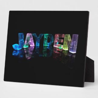 The Name Jayden in 3D Lights (Photograph) Plaque