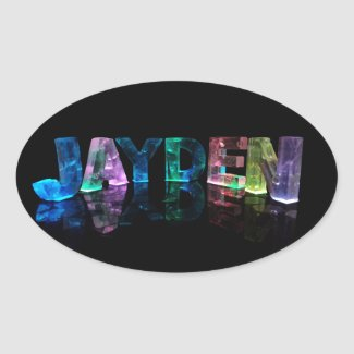 The Name Jayden in 3D Lights (Photograph) Stickers