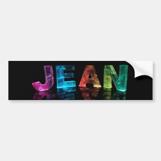 The Name Jean in 3D Lights (Photograph) Bumper Sticker