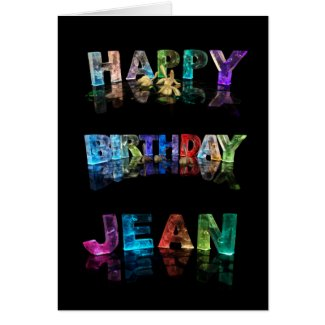 The Name Jean in 3D Lights (Photograph) Greeting Cards