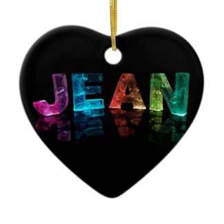 The Name Jean in 3D Lights (Photograph) Christmas Tree Ornaments