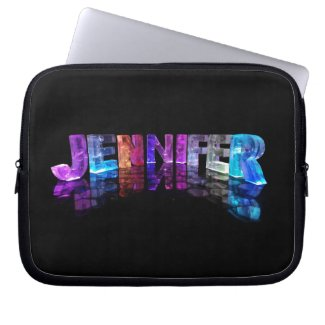 The Name Jennifer in 3D Lights (Photograph) Laptop Computer Sleeves