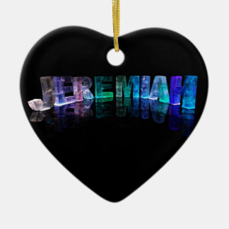 The Name Jeremiah in 3D Lights (Photograph) Ceramic Heart Decoration