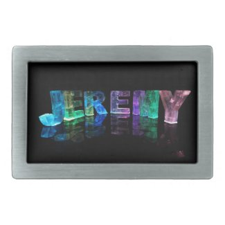 The Name Jeremy in 3D Lights (Photograph) Belt Buckles