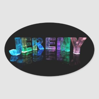 The Name Jeremy in 3D Lights (Photograph) Oval Stickers