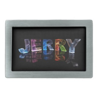 The Name Jerry in 3D Lights (Photograph) Belt Buckle