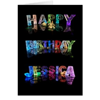 The Name Jessica in 3D Lights (Photograph) Greeting Cards