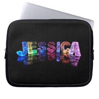 The Name Jessica in 3D Lights (Photograph) Laptop Computer Sleeves