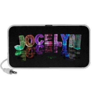 The Name Jocelyn in 3D Lights (Photograph) Portable Speaker