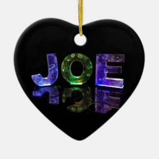 The Name Joe in 3D Lights (Photograph) Ceramic Heart Decoration