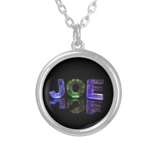 The Name Joe in 3D Lights (Photograph) Silver Plated Necklace