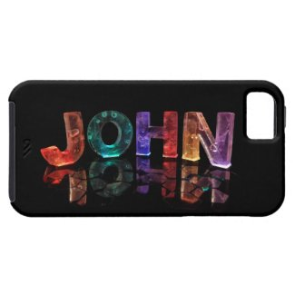 The Name John in 3D Lights (Photograph) iPhone 5 Covers