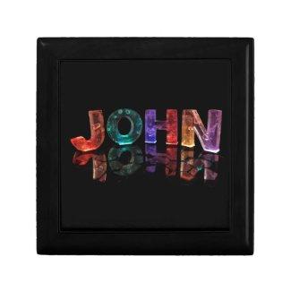 The Name John in 3D Lights (Photograph) Keepsake Boxes