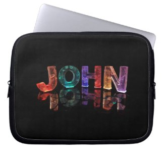 The Name John in 3D Lights (Photograph) Computer Sleeves